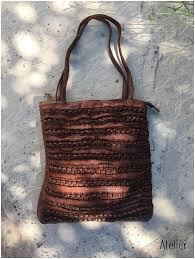 vintage leather cognac tote bag