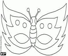 Vlinder Masker Kleurplaat Masker Carnaval Thema Knutselen