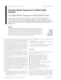 programme in public health nutrition