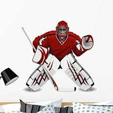Amazon Com Wallmonkeys Hockey Goalie Wall Decal Peel And Stick Graphic Wm12607 36 In W X 28 In H Home Kitchen