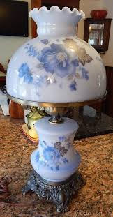vintage blue glass painted flowers gwtw