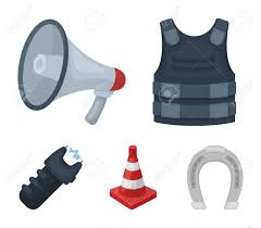 Bulletproof Vest Megaphone Cone Of Fencing Electric Shock Royalty Free Cliparts Vectors And Stock Illustration Image 95743960