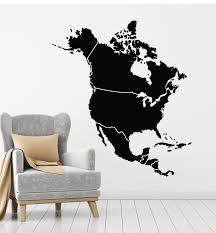 Vinyl Wall Decal Atlas North America Map American Continent Stickers M Wallstickers4you