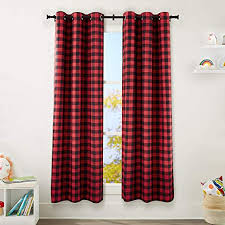 Amazon Com Amazonbasics Kids Room Darkening Blackout Window Curtain Set With Grommets 42 X 84 Red Buffalo Plaid Home Kitchen