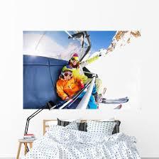 Mom With Boy On Ski Lift Ropeway Chair Wall Decal Wallmonkeys Com