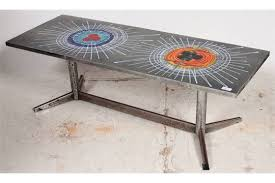 retro chrome and tile top coffee table