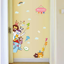 Cartoon Animals Self Adhesive Sticker Creative Kids Room Wall Stickers Home Decor Door Decoration Bedroom Decals Showcase Murals Wall Stickers Aliexpress