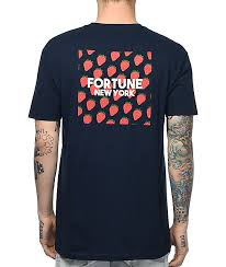 fortune strawberry navy t shirt zumiez