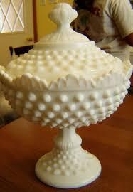 vintage fenton hobnail white milk glass