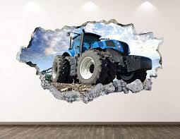 Amazon Com West Mountain Blue Farm Tractor Wall Decal Art Decor 3d Smashed Truck Sticker Mural Kids Room Custom Gift Bl90 30 W X 18 H Home Kitchen