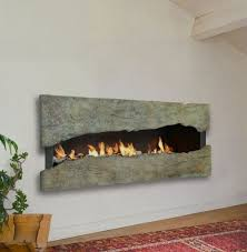 unique wall mounted fireplace idea