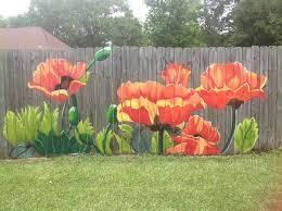 Poppy Mural On Fence Garden Mural Yard Art Fence Art