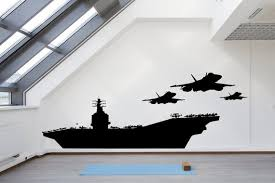 Navy Aircraft Carrier With Jets And Helicopter Vinyl Wall Art Etsy