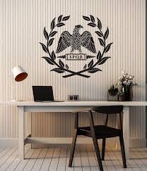 Amazon Com Large Vinyl Wall Decal Roman Eagle Legion Spqr Ancient World Room Decor Stickers Mural Ig6153 Black Home Kitchen
