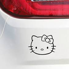 Amazon Com Ytedad Removable Vinyl Mural Decal Quotes Art Car Decal Car Sticker 14cm X 10cm Hello Kitty Head Face Bow Car Truck Wall Window Car Decals Sticker For Hello Kitty Car Accessories