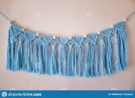 Blue Handmade Macrame Wall Hanging Garland Kids Room Decor Boho Style Nursery Stock Photo Image Of Bohemian Knit 183946240