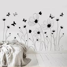 Diy Painted Black White Butterfly Flowers Wall Decals Home Decor Living Room Bedroom Decoration Wall Muur Stickers Muraux Leather Bag