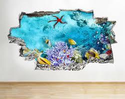 Wall Stickers Aquarium Fish Ocean Sea Coral Decal Poster 3d Art Vinyl Room A161