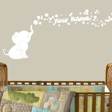 Amazon Com Elephant Bubbles Vinyl Wall Decal With Your Personalized Name Nursery Decor Great Gift White Baby