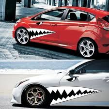 2pcs Waterproof Diy Shark Teeth Car Body Sticker Auto Tooth Vinyl Graphics Decal Car Sticker Design Body Stickers Cute Car Decals