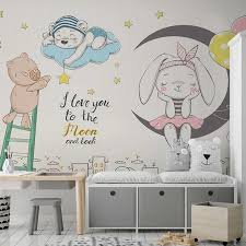 Custom Wallpaper 3d Cartoon Moon Stars Rabbit Animal Mural Kids Room Boys Girls Bedroom Background Decoration Photo Wall Paper Wallpapers Aliexpress