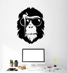 Vinyl Wall Decal Monkey Head In Sunglasses Cigarette Smoking Stickers Wallstickers4you