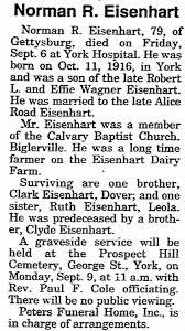 Norman R Eisenhart death (York, PA)$ - Newspapers.com