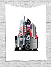 Truck Tapestry American Flag Themed Semi 18 Wheeler Patriotic Transportation Industrial Vehicle Wall Hanging For Bedroom Living Room Dorm Decor 40w X 60l Inches Red White Blue By Ambesonne Walmart Com