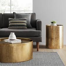 manila cylinder drum accent table gold