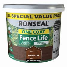 Ronseal One Coat Fence Life Medium Oak Matt Fence Shed Wood Treatment 12l Departments Diy At B Q