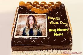 chocolate happy birthday cake with name