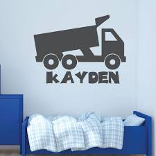 Amazon Com Boy S Custom Name Dump Truck Wall Decal Personalized Vinyl Decor For Bedroom Playroom Or Children S Room Black Blue Red Green Other Colors Handmade