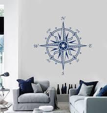 Compass Wall Decal Nautical Decor Compass Wall Decor Etsy