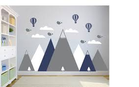 Mountain Wall Decal Nursery Wall Decal Clouds Wall Decals Etsy