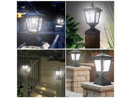 Solar Post Lights Outdoor 2 Pack Fence Post Lights Solar Powered Decorative Garden Lighting Square Deck Cap Lights For Flat Surface Silver 4x4 Or 6x6 Wood Posts Patio Lawn Garden Outdoor