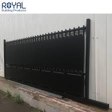 China Modern Casting Aluminum Slat Fence Driveway Gate Horizontal Sliding Entrance Main Gate Design China Aluminum Metal