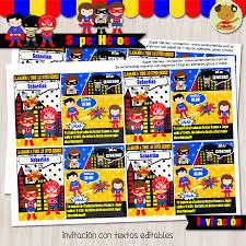 Super Heroes Invitacion Textos Editables