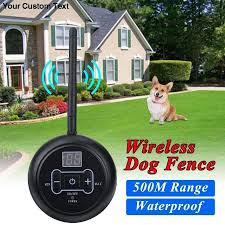 500m Pet Dog Wireless Electric Fence Containment System Signal Transmitter Dog Training Collar With