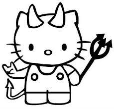 Hello Kitty Devil Metal Fork Die Cut Vinyl Sticker Decal Sticky Addiction