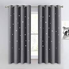 Amazon Com Nicetown Hollow Star Blackout Curtain Magic Night Sky Twinkle Star Nap Time Essential Kids Bedroom Window Curtain Drapery For Kids Room Baby Nursery Grey 1 Panel W52 X L63 Inches Home