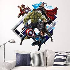 Yosa 3d Avenger Wall Sticker Baby Kids Room Stickers Cartoon Home Decor Wallpaper Poster Boy S Room Decals Prettyhomedecor