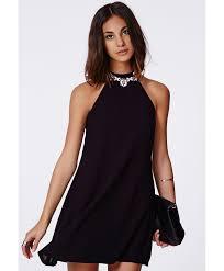 missguided nikola high neck shift dress