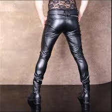 men s high stretch pu leather pants