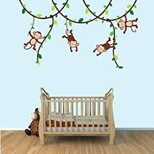 Amazon Com Baby Nursery Kid Room Wall Decals Monkey Vine Decal With Green Leaves Baby