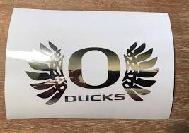 Oregon Ducks Wings Chrome Decal Oregon Wings Oregon Etsy