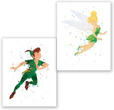 Amazon Com Peter Pan And Tinkerbell Posters Set Of 2 Art Prints Kids Room Nursery Wall Decor Party Decoration Supplies Watercolor Artwork 8x10 Posters Prints