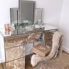 black makeup vanity table set w bench