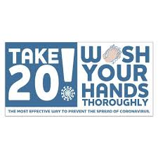 Take 20 Wash Your Hands Stickers White Vinyl Decal 4 X 8 Stock Art Customization Options Deluxe Com Deluxe