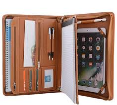 brown leather portfolio with notepad