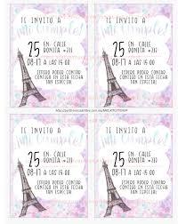 Invitaciones De Cumpleanos Para Imprimir Paris 8 00 En Mercado